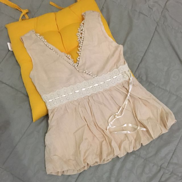 Tank Top Baloon Party dress size S/M cream