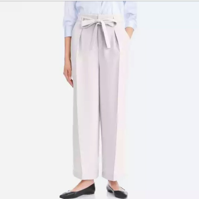 5ec32bd3d8 Uniqlo women high waist ribbon wide leg pant, Women's Fashion, Clothes,  Bottoms on Carousell