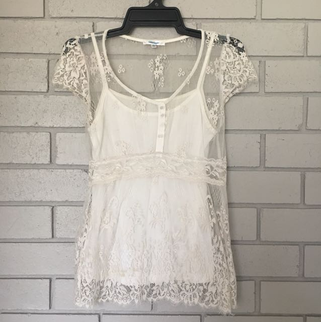 💚Valleygirl White Lace Shirt