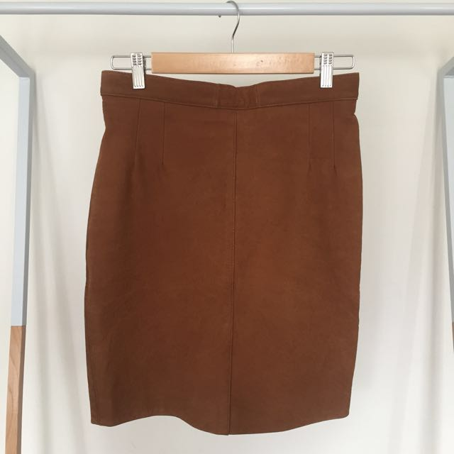 Vintage Tan Brown Suede Leather Pencil Skirt - High Waisted