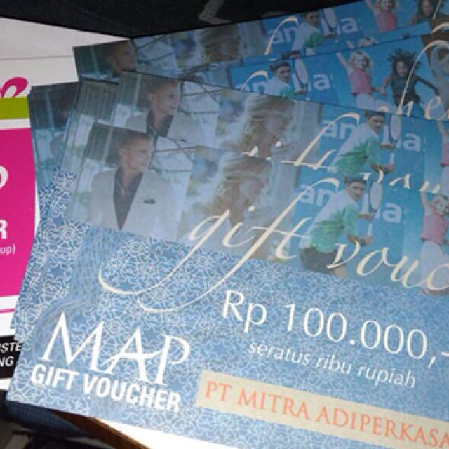 Voucher MAP (No Expired Date, Nominal Rp 100.000 ada 17 lembar), Tickets & Vouchers, Gift Cards & Vouchers on Carousell