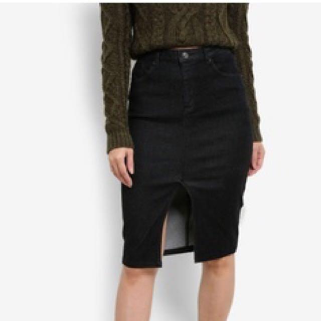 Zalora Black Denim Midi Skirt