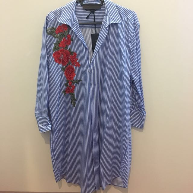 Zara embroided blouse