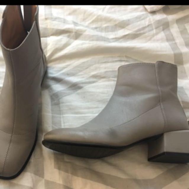 Zara Grey leather boots size 7