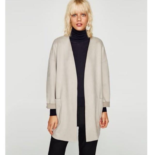 Zara Light Suede Jacket- Small/Beige