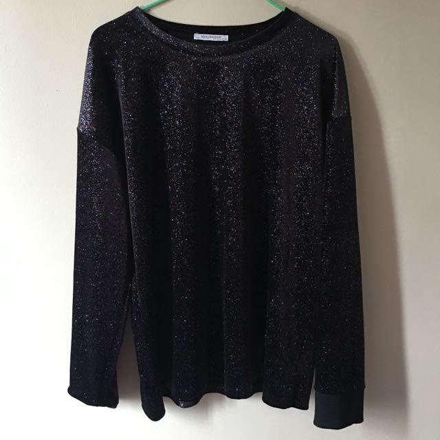 Zara Scoop Neck Glitter Sweatshirt