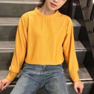 黃色圓領 原宿風 chic純色 寬鬆 百搭顯瘦套長袖女裝