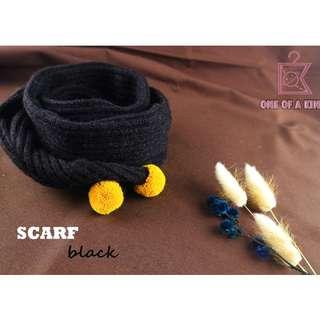 韓國製兒童球球撞色圍巾(黑色)