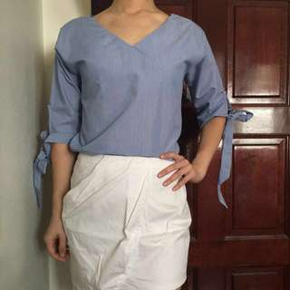 V neck top with bow sleeve #vneck