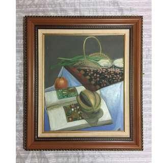 靜物大幅畫布厚框油畫《居家裝飾.藝術掛畫》