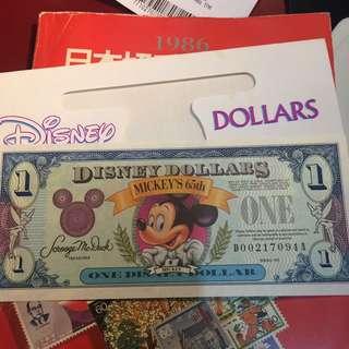 1993 Mickey 65th Disney Dollar