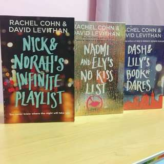 Nick and Norah's Infinite Playlist, Naomi and Ely's No Kiss List, Dash and Lily's Book of Dares by Rachel Cohn and David Levithan
