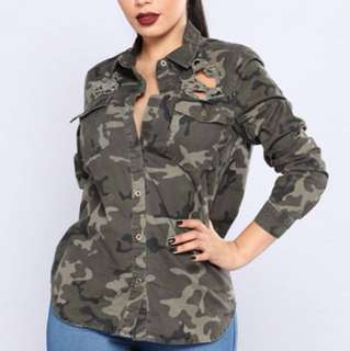 NWT: Fashion Nova Distressed Camo Too