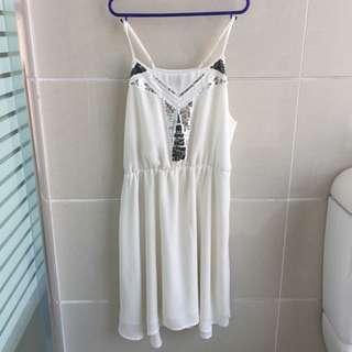 bardot white chiffon dress