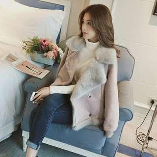 韓系麂皮絨短款外套(粉紫色)