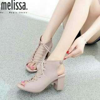 Sepatu wedges wanita semi kulit jala
