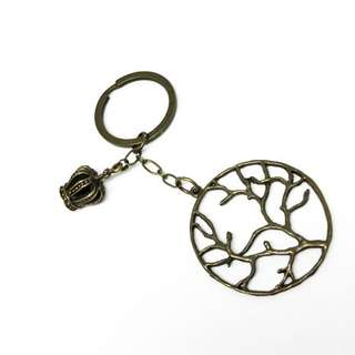 Keychain - with Crown & Tree
