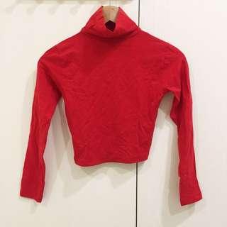 高領短版上衣 正紅色 大紅色 長袖上衣 高領長袖 短版長袖
