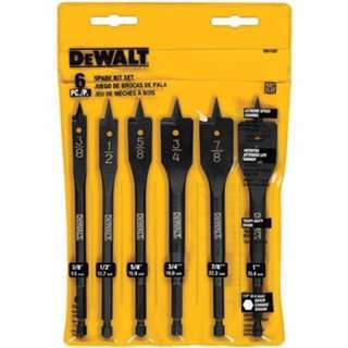 Dewalt 6 bit 3/8 inches to 1 inch spade drill bit assortment dw1587
