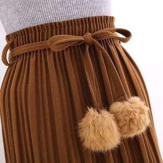 百摺球球綁帶長裙