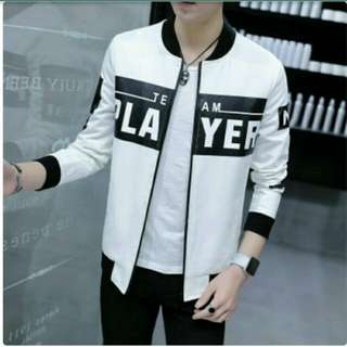 Jaket player white bahan destiny fleece LD108cm PB65cm printing premium
