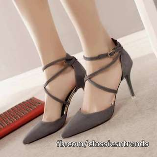 Criss-Cross Strapped Pointed Heels (GRAY)
