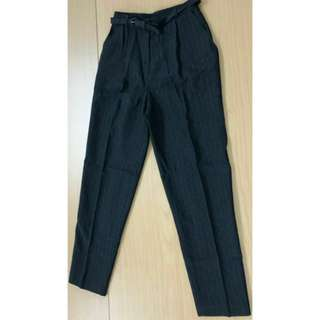 Marks & Spencer M&S 西褲 長褲 闊褲 深灰色 直間 stripes dark gray grey trousers pants uk