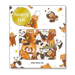 小浣熊+小熊貓貼紙