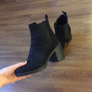 Topshop Buddy Heeled Black Boots, Size 9