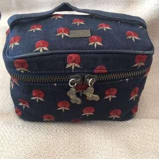 ANNA SUI Vintage Makeup Vanity Cosmetic Bag in denim with floral details