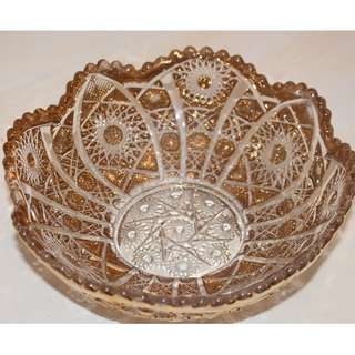 Vintage heavy cut Gold Glass Bowl/ Centrepiece