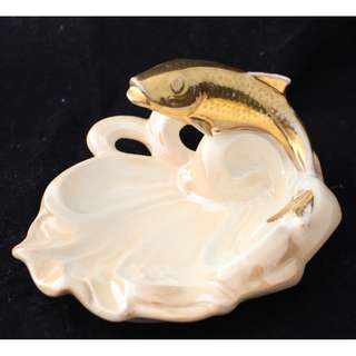 Vintage Wembley Ware Lustre Trout Fish Ashtray 1950's