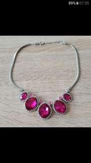 Pink Teardrop Diamente Necklace