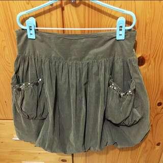 Sz m Army green bubble skirt