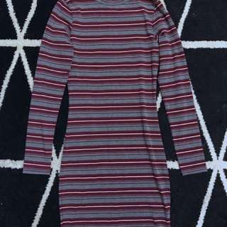 High Neck long sleeved striped Midi Dress