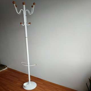 Minimalist White Coat rack, Hat stand with umbrella stand. Wood accents