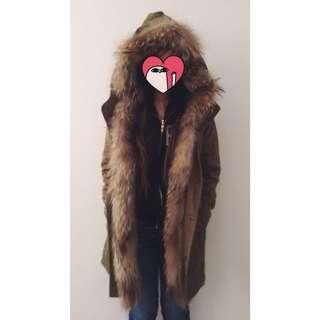 Real Fur Khaki Jacket Japan