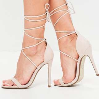 *reduced* SUEDE BARELY THERE LACE UP NUDE HEELS