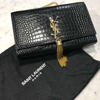 Saint Laurent Medium Kate Croc Embossed Bag
