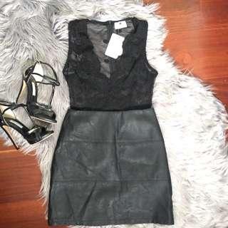 Morning Mist Black Lace Sheer Bodysuit Size 6