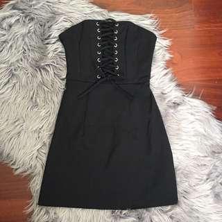 Luvalot Black Strapless Lace Up Dress Size 6