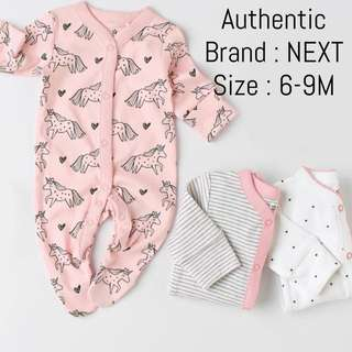 Authentic NEXT Sleepsuits 6-9M