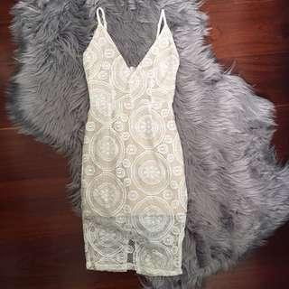 Luvalot White Lace Midi Dress Size 6