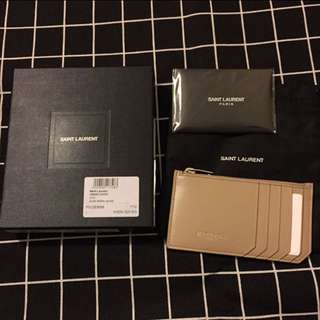 🎅🏻🎅🏻聖誕優惠 全新 YSL Classic Paris leather card holder dark Beige