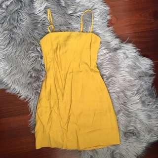 Alivegirl Mustard Tie Back A Line Mini Dress Size 6