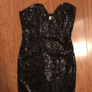 Honey plunging neck strapless sequin dress
