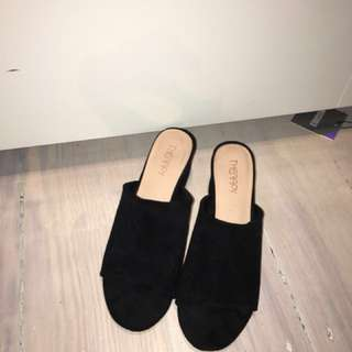 Therapy black suede mules size 7