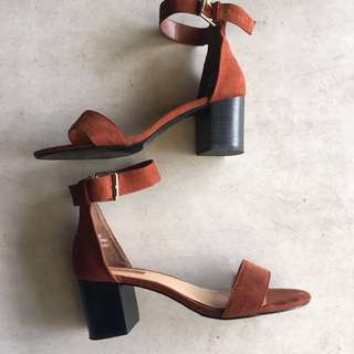 Forever 21 Brown Suede Heels with Ankle Straps