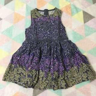 NEXT Grey Purple Flowery Dress