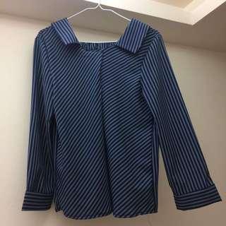免運🌹深藍條紋襯衫💙